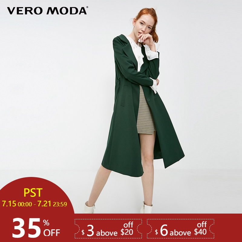 Vero Moda 2019 New Women's OL Style Lace-up Concealed Button Lapel Wind Coat Long   Trench   Coat | 318321530