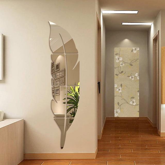 Freies Verschiffen Neue 3D Spiegel Wandaufkleber Kreative Acryl Feather  Körper Spiegel Hängen Rahmen Spiegel Wohnzimmer Dekorative