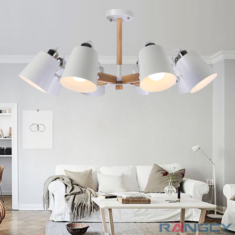 Creative simple 3/6/8 head solid wood LED chandelier lamp for living room white black ceiling chandeliers lighting E27 LED light цена