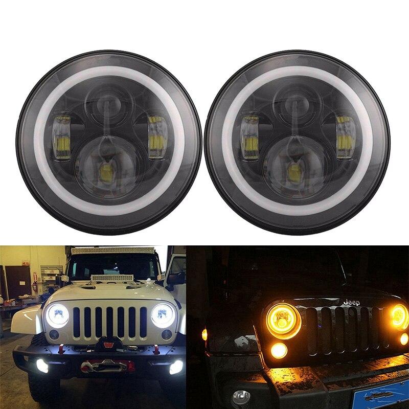 2 pièces 7 pouces LED ronde conduite lumière H4 LED voiture phare Kit Auto pour Jeep Wrangler hors route 4x4 LED lampe frontale feux de route et feux de croisement