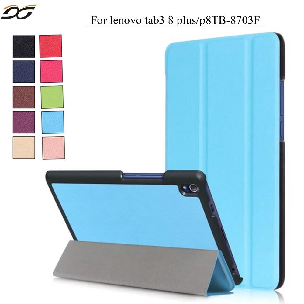 PU Leather Case For Lenovo TAB 3 8 Plus 8703x TB 8703F TB 8703N Tri fold