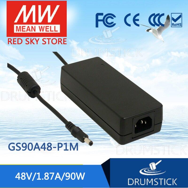 цена на Hot sale MEAN WELL GS90A48-P1M 48V 1.87A meanwell GS90A 48V 90W AC-DC Industrial Adaptor
