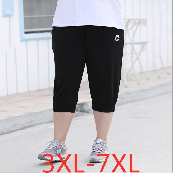 2019 summer plus size shorts for women casual loose elastic waist large size wowan capri harlan shorts black 3XL 4XL 5XL 6XL 7XL