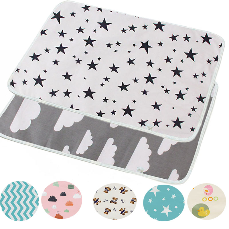 50X70 Reusable Baby Changing Mats Cover  Baby Diaper Mattress Diaper For Newborn Cotten Waterproof Changing Pats Flool Play Mat