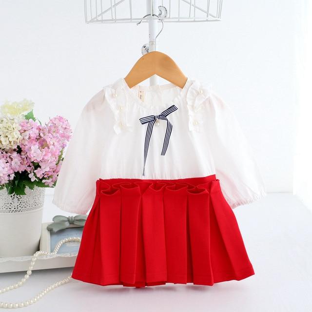 2018 סתיו בגדי תינוקות ילדה נסיכת פניני טבילת תינוק מסיבת יום הולדת שמלת קפלים שמלת ילדה 0-2 T 3 צבע
