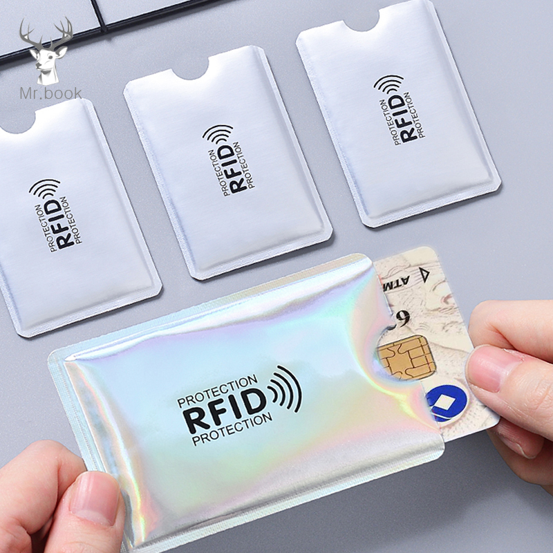 20pcs Anti Rfid Laser Wallet Blocking Reader Lock Bank Card Holder Id Bank Card Case Protection Metal Credit Card Holder