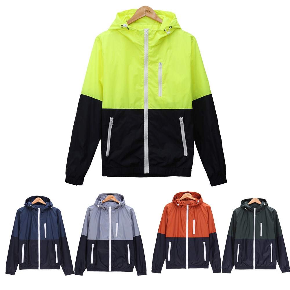 Windbreaker Men Fashion Casual Spring Autumn Lightweight Jacket Hooded Contrast Color Zipper up Jackets Outwear Cheap M-3XL