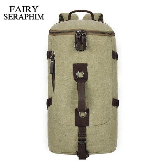 c3b06aa922c14 PERI SERAPHIM Büyük kapasiteli adam seyahat çantaları dağcılık sırt çantası  erkekler lüks Avrupa tuval kova omuz çantası