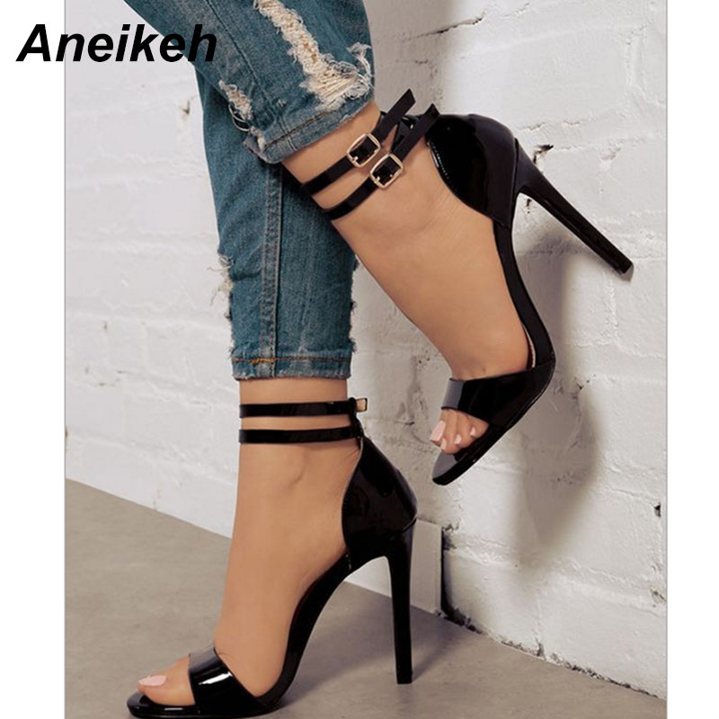 da7b48c37f Aneikeh 2018 Verão Moda Sexy Mulheres Sandálias de Couro de Patente 11.5 cm  Sapatos de Salto Alto Bombas Tira No Tornozelo Do Dedo Do Pé Aberto Vestido  ...