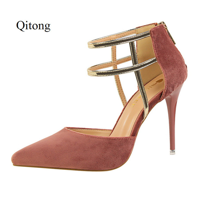 Good Quality Pointed Toe Leather Woman Thin Hig Heel Pumps Women Shoes for Wedding Nightclub and Party Red and Orange Rome Style