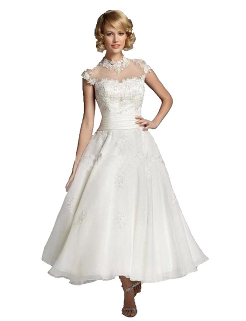 Vintage Short Wedding Dresses With Sleeves Lace Ankle Length Bridal