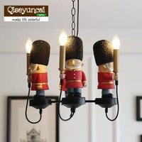Qiseyuncai английский Детская комната британский солдат люстра Для мальчиков и девочек спальня мягкая выделка свечи лампочки
