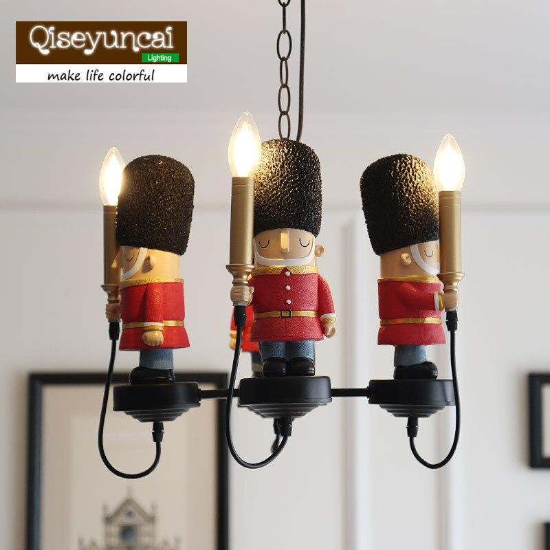 Qiseyuncai chambre des enfants anglais soldat britannique lustre garçon fille chambre doux dressing bougie ampoule