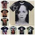 [Elmo] 2015 Verano nuevo estilo 3d camiseta de los hombres/de las mujeres Rihanna/Cráneo/Tupac camisetas impresas t-shirt o-cuello de hip hop camiseta ropa hombre