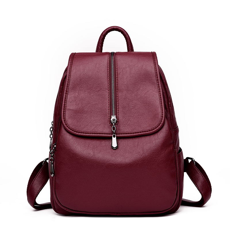 Genuine Leather Women Backpack Solid Color School Bags for Teenagers Girls Female Travel Back Pack 4 Colors Mochila Sac A Dos 2016 korean girls cute genuine leather backpack school bags for teenagers bags bolsas travel backpack bag for women free gift