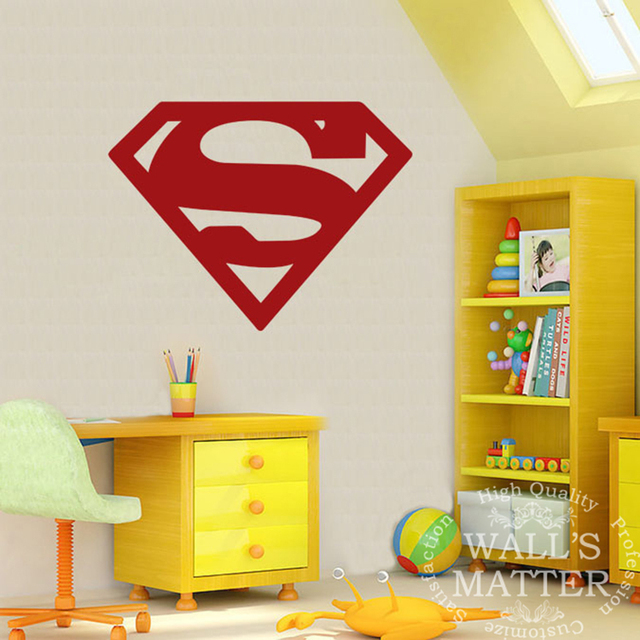 Superman Vinyl Wall Decal Stickers Decorative Pattern Home Decor Boys Rooms Art Mural Wallpaper