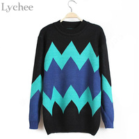 Autumn Fashion Vintage Women Sweater Wave Stripes Casual Loose Knitwear Long Sleeve Jersey Pullover Jumper