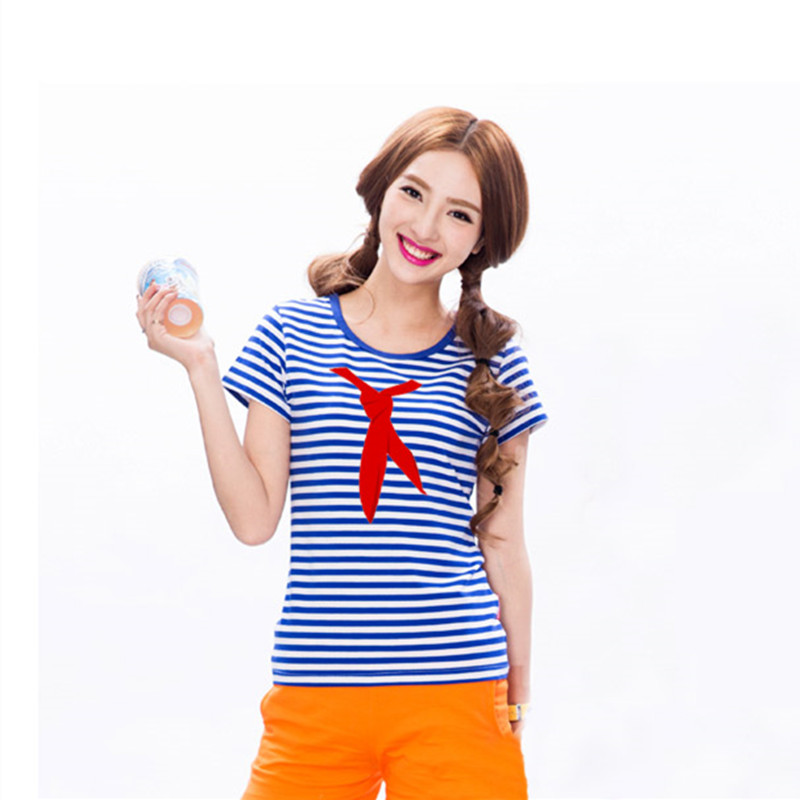 158b4dc8 Vintage Sea striped Shirt Women T shirts Red Scarf Printed T Shirt Blue and White  Stripes Breton Top Women Clothing Haihunshan-in T-Shirts from Women's ...