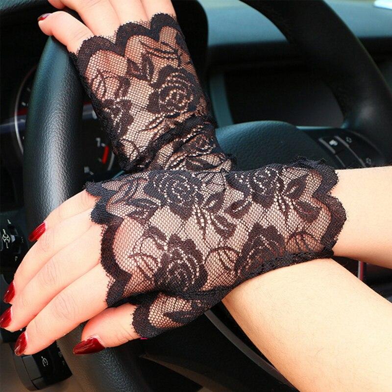 New Spring Summer Women Lace Half-finger Gloves Chic Knit Flower Party Etiquette Fingerless Lace Gloves Women Driving Gloves W3