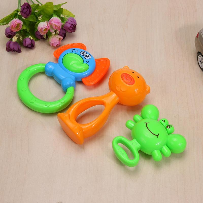 Baby Rattles Toys 3pcs Newborn Teethers Baby Hand Rattles Grasp Ring Bell Education Toys Gift Animal Rattles Educational Gift