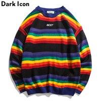 DARK ICON Rainbow Stripe O neck Pullover Men's Sweater 2018 Winter Letter Embroidery Sweater for Men 2Colors