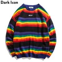 DARK ICON Rainbow Stripe O neck Pullover Men's Sweater 2019 Winter Letter Embroidery Sweater for Men 2Colors