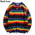 DARK ICON Regenbogen Streifen Oansatz Pullover männer Pullover 2019 Winter Brief Stickerei Pullover für Männer 2 Farben-in Pullover aus Herrenbekleidung bei