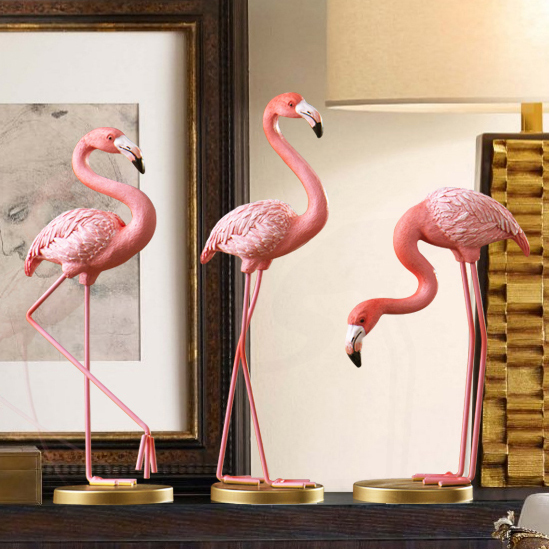 Creative Nordic Cute Resin Flamingo Statues Home Decor Crafts Animal Figurine Decoration Objects Arts Gifts