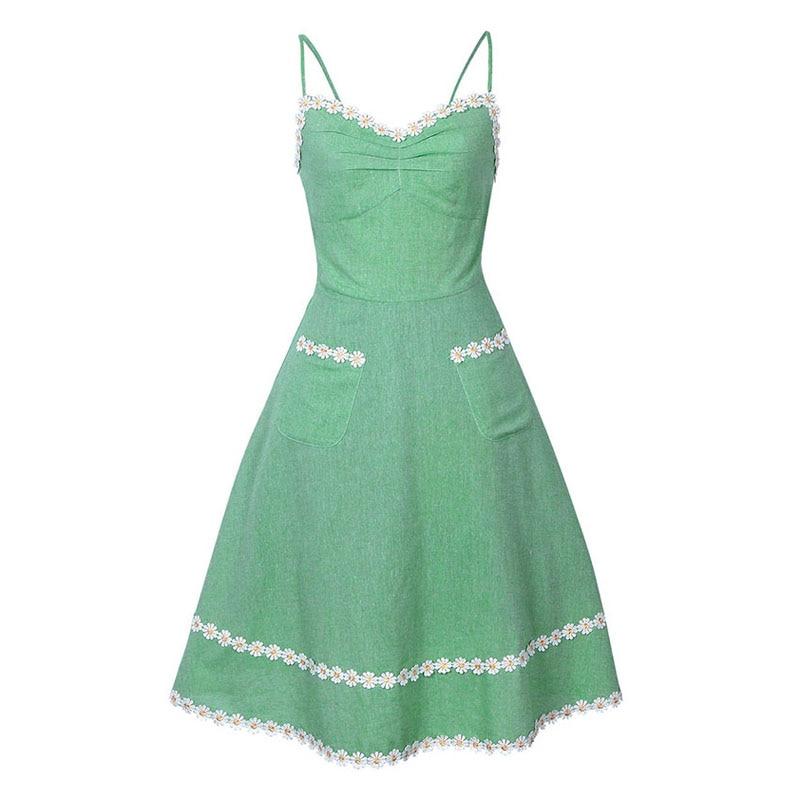 Kissloves Sisjuly Women Summer Dress Solid Green Sleeveless Spaghetti Strap Backless Appliques Above Knee Sweet Girl's Summer Dresses
