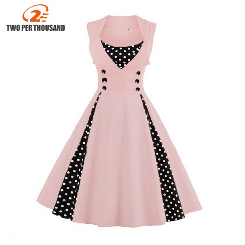 Two Per Thousand Summer Women Dress Retro 1950s 60s Dress Polka Dots Pinup Rockabilly Party Dresses Vintage Tunic Vestidos Mujer