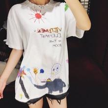 19SS Cartoon Vetements T Shirt Men Women Streetwear Graffiti T-shirt Harajuku Cotton Top Tee Short Sleeve Print Tshirt