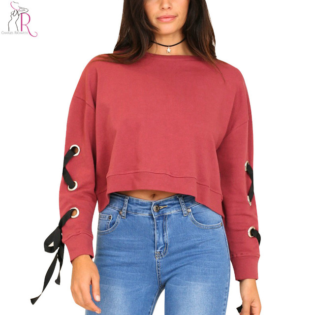 Red Eyelets Lace Up Long Sleeve Crop Sweatshirt Women Drop Shoulder Round  Neck Casual Loose Short fb7974472