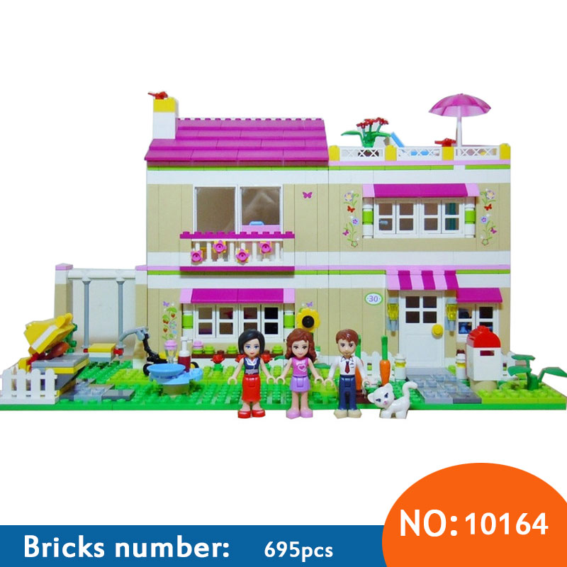 AIBOULLY 10164 Friends Olivia's House Blocks Bricks Toys Girl Game Castle Gift Bricks Gift Toys Compatible 3315 Free Shipping 10162 friends city park cafe building blocks bricks toys girl game toys for children house gift compatible with lego gift