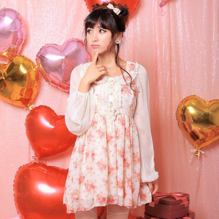 Princesse douce lolita robe fleur oncle princesse bébé poitrine agaric bord cassé belle robe en mousseline de soie UF76