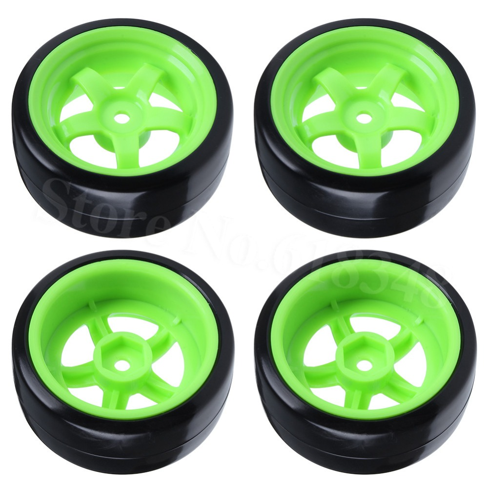 4pcs / Lot Smooth RC Drift Wheels Tayar 12mm Hub Hex Tayar untuk 1:10 Skala dengan Lock Nut M4