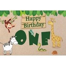 Laeacco Happy One Birthday Animals Leaves Baby Children Cartoon Scene Photography Background Photographic Photo Backdrops Studio