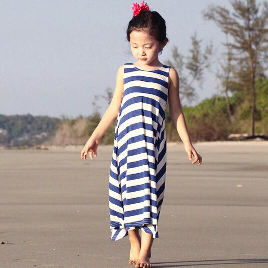 Summer Beach Dresses Girls Long Sleeveless O-Neck Collar Children Striped Dress Backless Bohemian Style Fashion Kids Dress T105 summer girls dresses casual children clothing sleeveless striped baby clothes for girls o neck striped brilliant color
