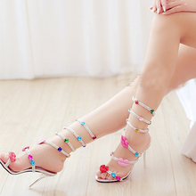Summer Open Toe Rhinestone Women Sandals Lady Sandal Boots Shinny Bridal Wedding Shoes Snake Style Formal Dress Shoes