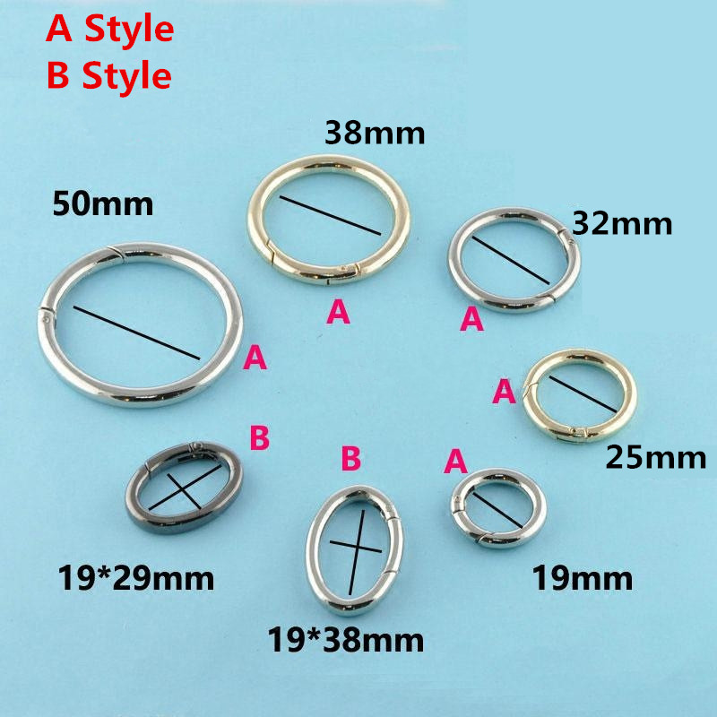 4 piece/lot Silver Plated Gate Spring Ring  Round Push Snap Hooks for Purses and Handbags Accessories Multi Size for Multi use gate gate magnetic plated hardware floor wall suction gold 176203