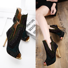 Big Size Shoes Woman Summer Sandals Boots 2017 European Crysal Peep Tpe High Heels Gladiator Sandals Women, Ladies Sandals Black