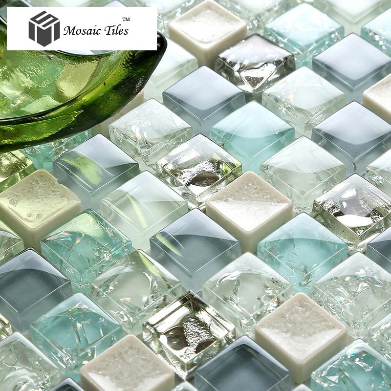 New Arrival Glass Mosaics Aqua Gray Glass White Silver ...