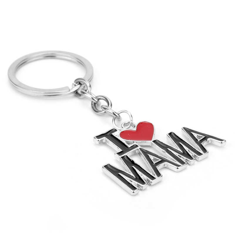 Dongsheng เครื่องประดับ Keychain I Love Papa Mama Key แหวนโซ่ตัวอักษรหัวใจ Keyrings ครอบครัวของขวัญเครื่องประดับ llaveros