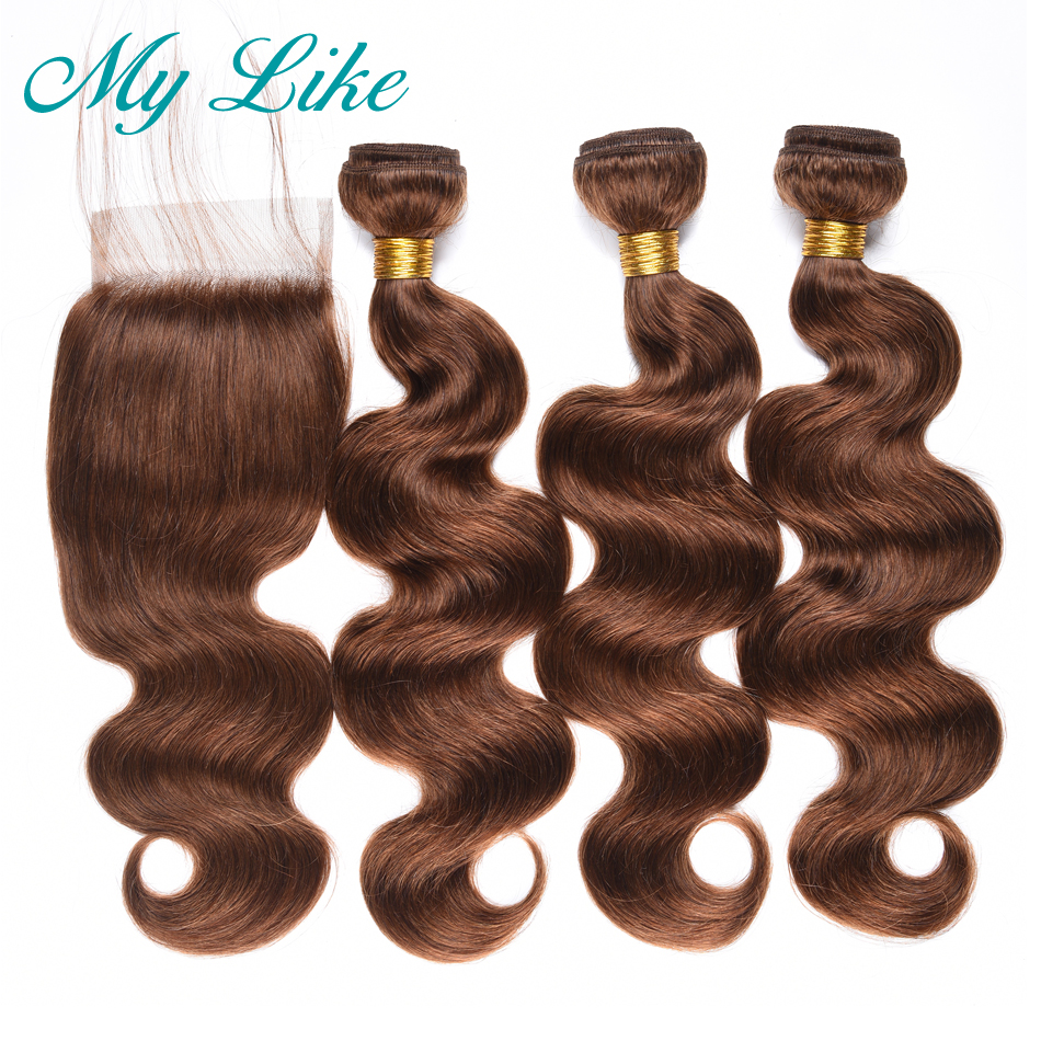 My Like Burmese Hair Weave Body Wave Bundles With Closure #4 Light Brown 3 Bundles Human Hair Extension With Closure Non-remy