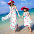 Mother Daughter Dresses 2016 Mom and Daughter Beach Dress Chiffon Family Dresses 2016 Summer Family Look Girl and Mother Dress
