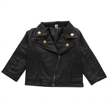 dbdee3fa2 Venta caliente primavera otoño niños Bebé Ropa traje chaqueta de cuero de  la PU de abrigo para Bebés Ropa chaqueta de cuero corta abrigos