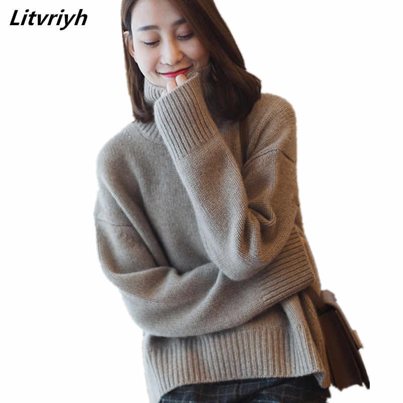 autumn and Winter Thick High Collar pullover women loose Cashmere Sweater Fashion Warm Large Size Knit Sweater women pullovers