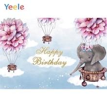 Yeele Hot Air Balloon Elephant Baby Children Birthday Photography Backdrop Custom Vinyl Photographic Background For Photo Studio