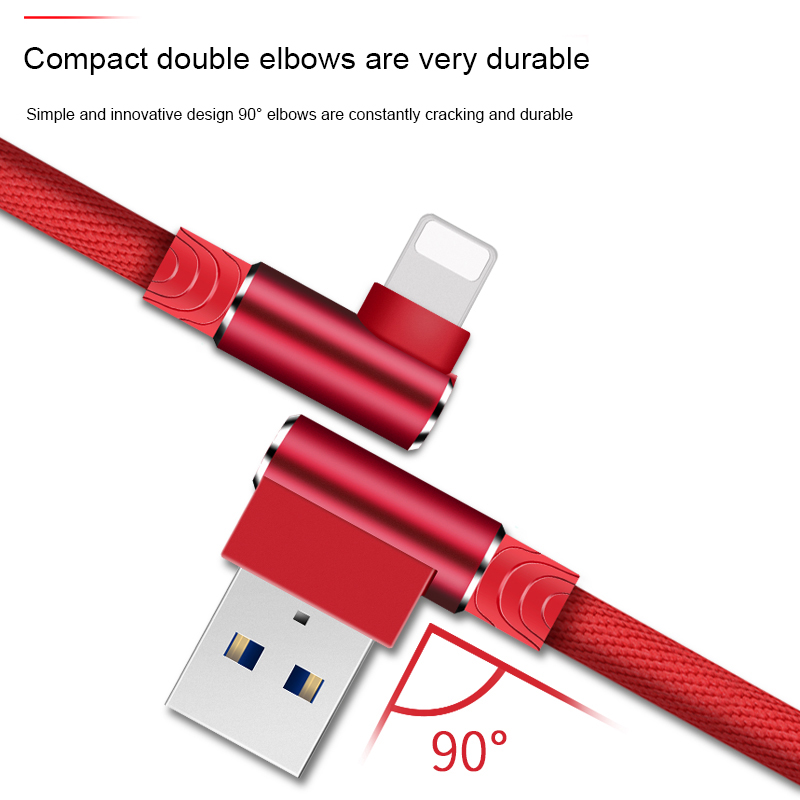 1M 2M 3M 90 Degree USB Data Charger Fast Cable for iPhone X XR XS MAX