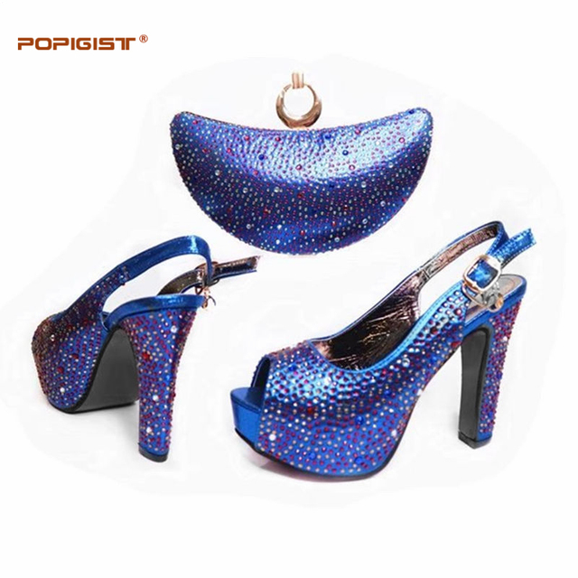 US $56.32 36% OFF|Royal Blue Beautiful African style shoes and matching bag Ladies Italian shoes and bags with nice rhinestones for party in Women's