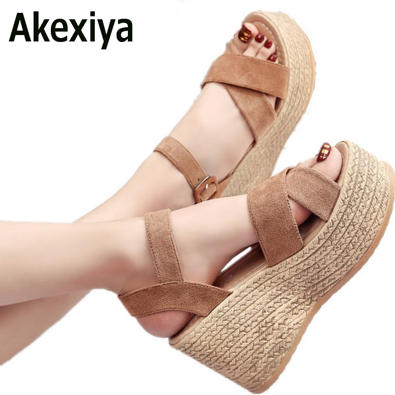 Akexiya 2017 Suede Gladiator Sandals Platform Wedges Summer Creepers Casual Buckle Shoes Woman Sexy Fashion High Heels lanshulan wedges gladiator sandals 2017 summer peep toe platform slippers casual glitters shoes woman slip on flats creepers